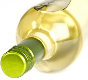 Bottle of White Wine with Screwcap on Its Side