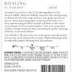 2010 Hillside Riesling Back